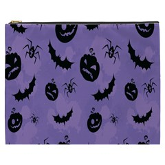 Halloween Pumpkin Bat Spider Purple Black Ghost Smile Cosmetic Bag (xxxl)