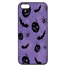 Halloween Pumpkin Bat Spider Purple Black Ghost Smile Apple Iphone 5 Seamless Case (black)