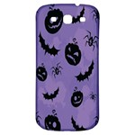 Halloween Pumpkin Bat Spider Purple Black Ghost Smile Samsung Galaxy S3 S III Classic Hardshell Back Case Front