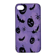 Halloween Pumpkin Bat Spider Purple Black Ghost Smile Apple Iphone 4/4s Hardshell Case With Stand by Alisyart