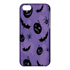Halloween Pumpkin Bat Spider Purple Black Ghost Smile Apple Iphone 5c Hardshell Case by Alisyart