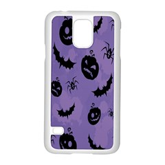 Halloween Pumpkin Bat Spider Purple Black Ghost Smile Samsung Galaxy S5 Case (white)