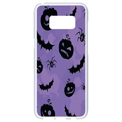 Halloween Pumpkin Bat Spider Purple Black Ghost Smile Samsung Galaxy S8 White Seamless Case