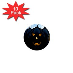 Halloween Pumpkin Dark Face Mask Smile Ghost Night 1  Mini Magnet (10 Pack)