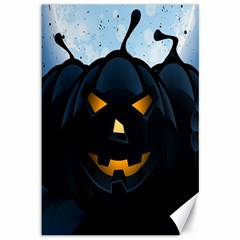 Halloween Pumpkin Dark Face Mask Smile Ghost Night Canvas 12  X 18