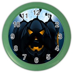 Halloween Pumpkin Dark Face Mask Smile Ghost Night Color Wall Clocks