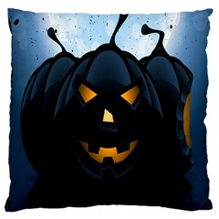 Halloween Pumpkin Dark Face Mask Smile Ghost Night Large Cushion Case (one Side) by Alisyart