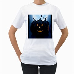 Halloween Pumpkin Dark Face Mask Smile Ghost Night Women s T Shirt (white)