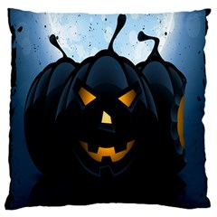 Halloween Pumpkin Dark Face Mask Smile Ghost Night Standard Flano Cushion Case (two Sides)