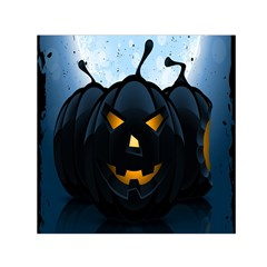 Halloween Pumpkin Dark Face Mask Smile Ghost Night Small Satin Scarf (square)