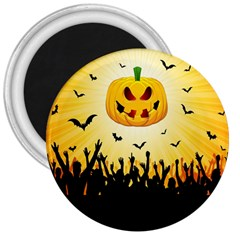 Halloween Pumpkin Bat Party Night Ghost 3  Magnets by Alisyart