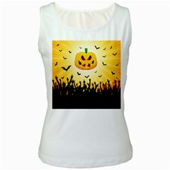 Halloween Pumpkin Bat Party Night Ghost Women s White Tank Top
