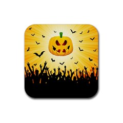 Halloween Pumpkin Bat Party Night Ghost Rubber Coaster (square)