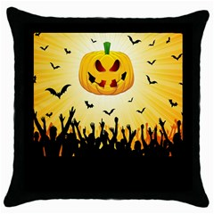 Halloween Pumpkin Bat Party Night Ghost Throw Pillow Case (black)