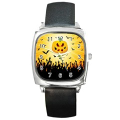 Halloween Pumpkin Bat Party Night Ghost Square Metal Watch by Alisyart