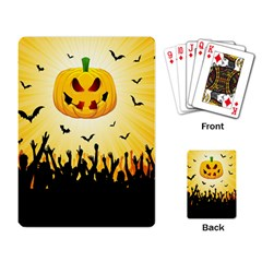 Halloween Pumpkin Bat Party Night Ghost Playing Card by Alisyart