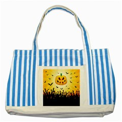Halloween Pumpkin Bat Party Night Ghost Striped Blue Tote Bag