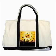 Halloween Pumpkin Bat Party Night Ghost Two Tone Tote Bag by Alisyart