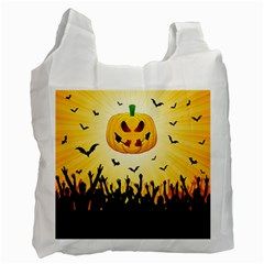 Halloween Pumpkin Bat Party Night Ghost Recycle Bag (one Side) by Alisyart