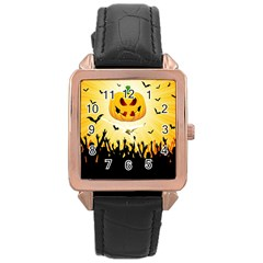 Halloween Pumpkin Bat Party Night Ghost Rose Gold Leather Watch  by Alisyart