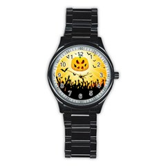 Halloween Pumpkin Bat Party Night Ghost Stainless Steel Round Watch by Alisyart