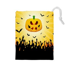 Halloween Pumpkin Bat Party Night Ghost Drawstring Pouches (large)