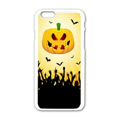 Halloween Pumpkin Bat Party Night Ghost Apple Iphone 6/6s White Enamel Case by Alisyart