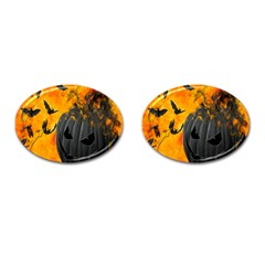 Halloween Pumpkin Bat Ghost Orange Black Smile Cufflinks (oval) by Alisyart
