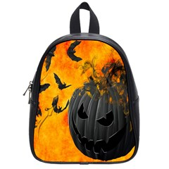 Halloween Pumpkin Bat Ghost Orange Black Smile School Bag (small) by Alisyart