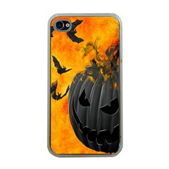 Halloween Pumpkin Bat Ghost Orange Black Smile Apple Iphone 4 Case (clear) by Alisyart