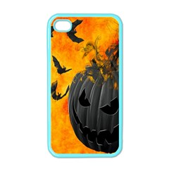 Halloween Pumpkin Bat Ghost Orange Black Smile Apple Iphone 4 Case (color) by Alisyart