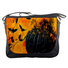 Halloween Pumpkin Bat Ghost Orange Black Smile Messenger Bags by Alisyart