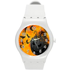 Halloween Pumpkin Bat Ghost Orange Black Smile Round Plastic Sport Watch (m) by Alisyart