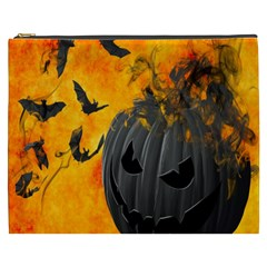 Halloween Pumpkin Bat Ghost Orange Black Smile Cosmetic Bag (xxxl)