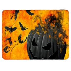 Halloween Pumpkin Bat Ghost Orange Black Smile Samsung Galaxy Tab 7  P1000 Flip Case