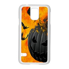 Halloween Pumpkin Bat Ghost Orange Black Smile Samsung Galaxy S5 Case (white)