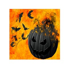 Halloween Pumpkin Bat Ghost Orange Black Smile Small Satin Scarf (square)