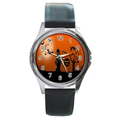 Halloween Sinister Night Moon Bats Round Metal Watch by Alisyart