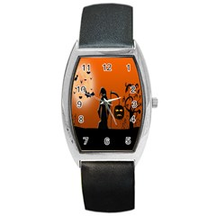 Halloween Sinister Night Moon Bats Barrel Style Metal Watch