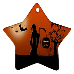 Halloween Sinister Night Moon Bats Star Ornament (two Sides)