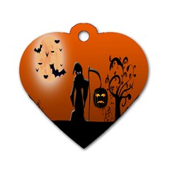 Halloween Sinister Night Moon Bats Dog Tag Heart (one Side) by Alisyart