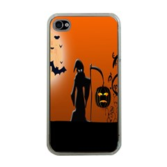 Halloween Sinister Night Moon Bats Apple Iphone 4 Case (clear)