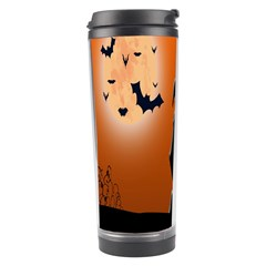 Halloween Sinister Night Moon Bats Travel Tumbler by Alisyart