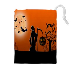 Halloween Sinister Night Moon Bats Drawstring Pouches (extra Large)