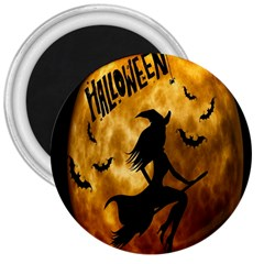 Halloween Wicked Witch Bat Moon Night 3  Magnets