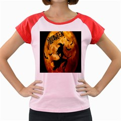 Halloween Wicked Witch Bat Moon Night Women s Cap Sleeve T Shirt