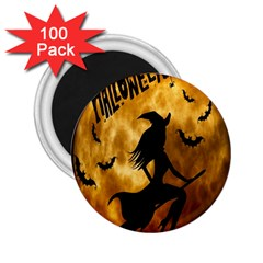 Halloween Wicked Witch Bat Moon Night 2 25  Magnets (100 Pack)  by Alisyart