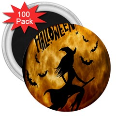 Halloween Wicked Witch Bat Moon Night 3  Magnets (100 Pack)