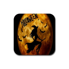 Halloween Wicked Witch Bat Moon Night Rubber Square Coaster (4 Pack)  by Alisyart