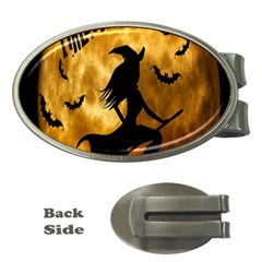 Halloween Wicked Witch Bat Moon Night Money Clips (oval)  by Alisyart